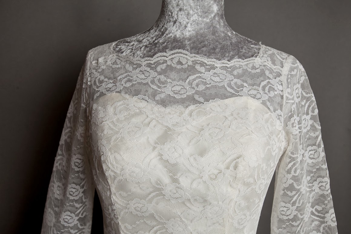 1950s lace wedding dress, 'cupcake' style, c Heavenly Vintage Brides