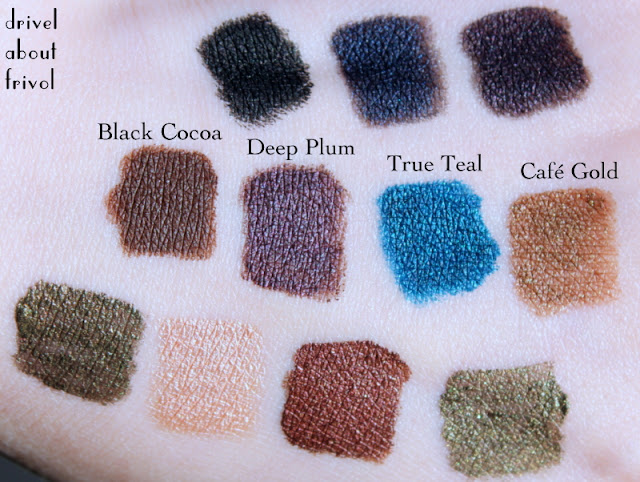 Pixi Endless Silky Eye Pen eyeliner Swatches Black Cocoa, Deep Plum, True Teal, Cafe Gold