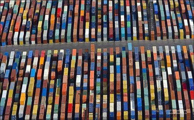 Container texture, seaport, St. Petersburg