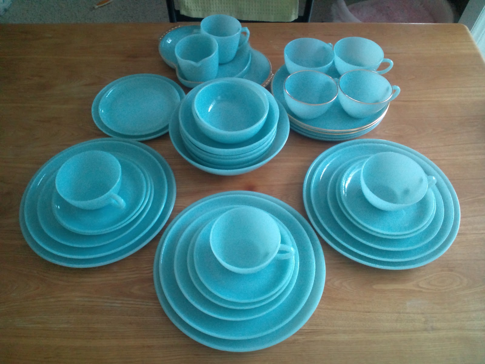 Fire king 1950 39 s for Cuisine turquoise