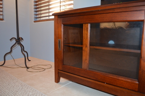 Lamont TV Stand, Media Console glass doors