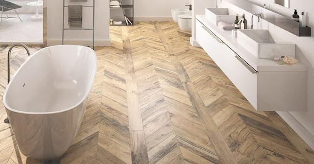 parquet herringbone tile floor for modern bathroom