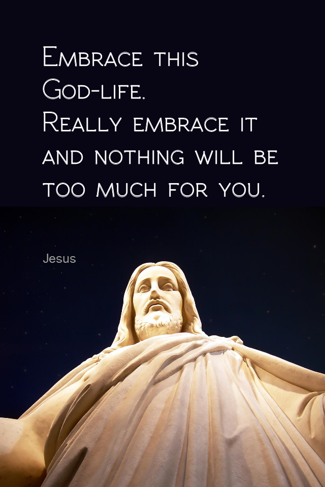 visual quote - image quotation for SPIRIT - Embrace this God-life. Really embrace it and nothing will be too much for you. - Jesus