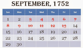 Eeven missing days calender of September 1752