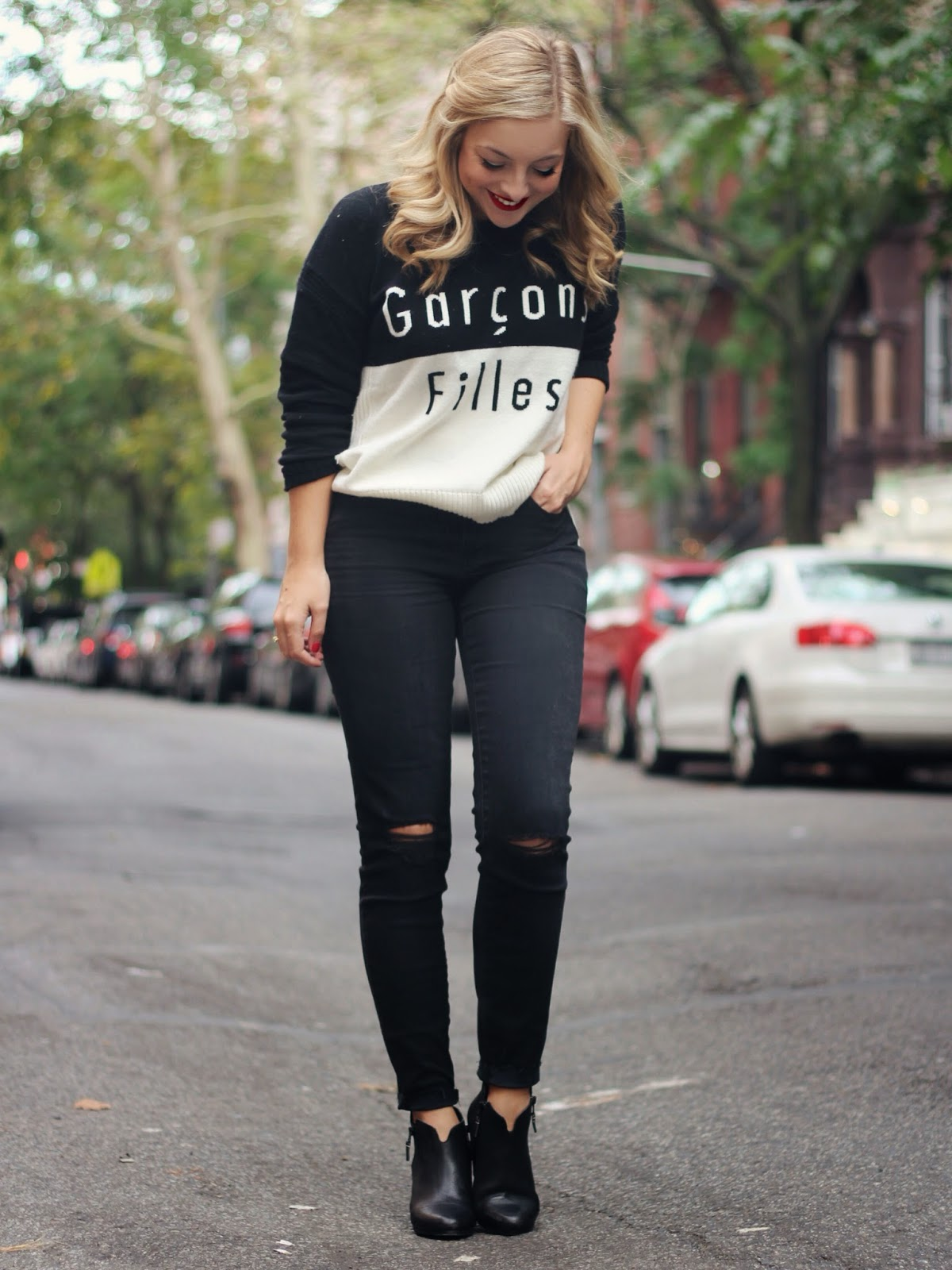 Madewell Filles Garcons Sweater Black High Rise Skinny Jeans Rag and Bone Margot Boots