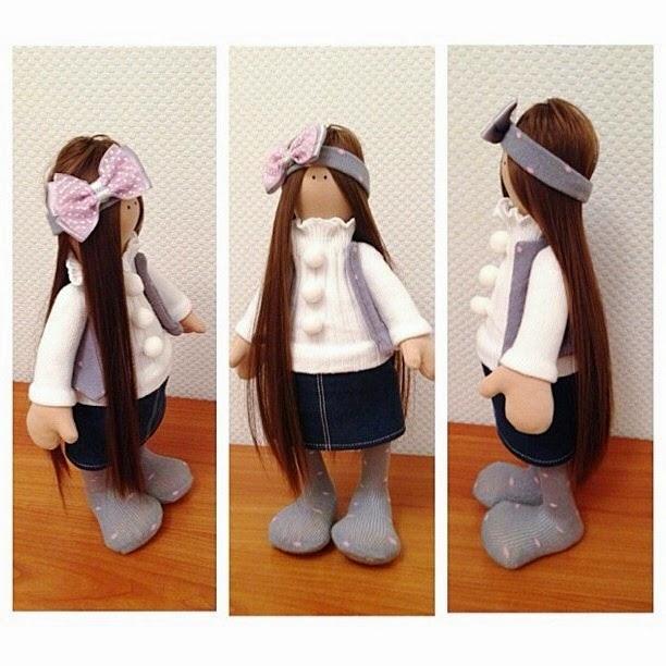 ручная работа, кукла Снежка, сделано руками, текстильная кукла