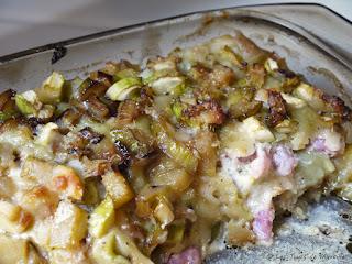 Gratin de ravioles aux courgettes et aux lardons (voir la recette)
