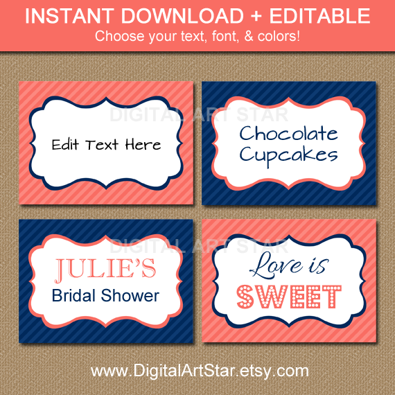 Editable coral navy printable labels