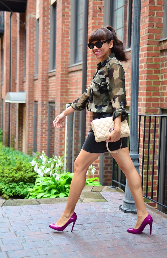 Outfit with camouflage print