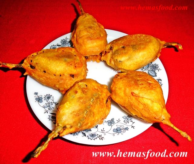 Stuffed Eggplant Bonda - Gutti Vankaya Bhajji