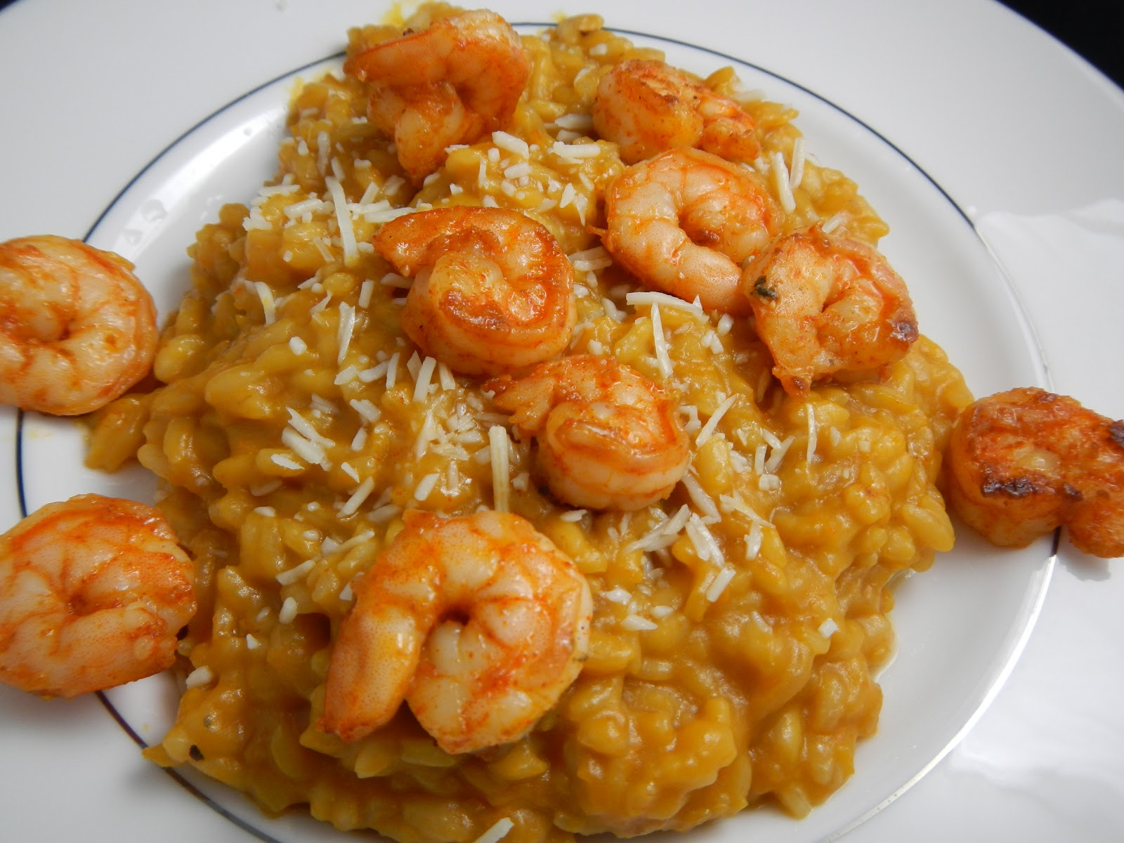 Liz 39 s livelihood butternut squash risotto with spicy shrimp for Spicy prawn risotto