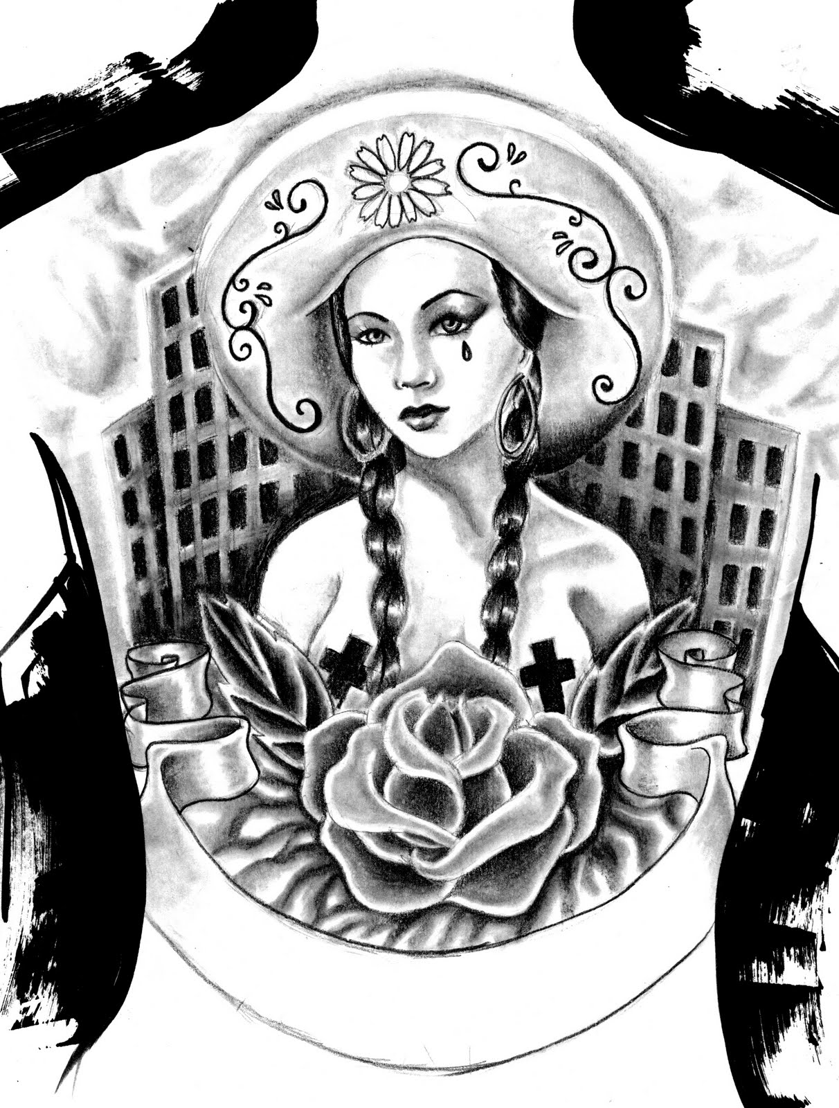 Mexican gangster back piece - Tattoo Design
