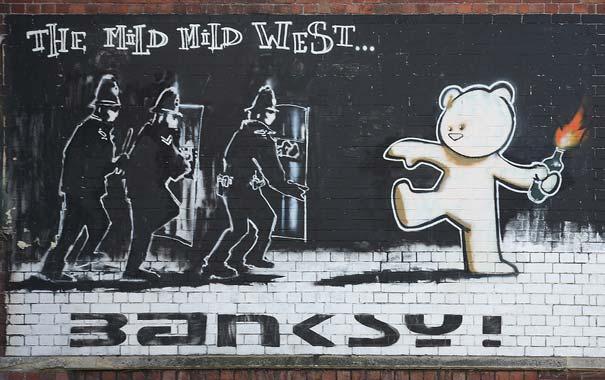 Ditanya Tentang Tekniknya Banksy Mengatakan Saya Menggunakan Apa Pun Kadang Kadang Itu Hanya Berarti Menggambar Kumis Di Wajah Seorang Gadis Pada