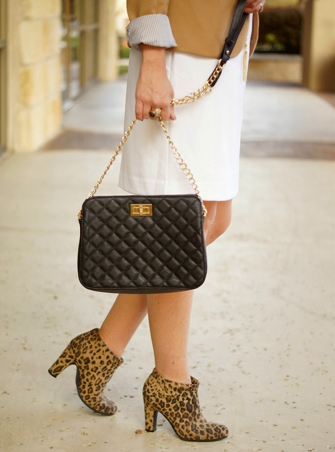 leopard ankle boots black qulited bag