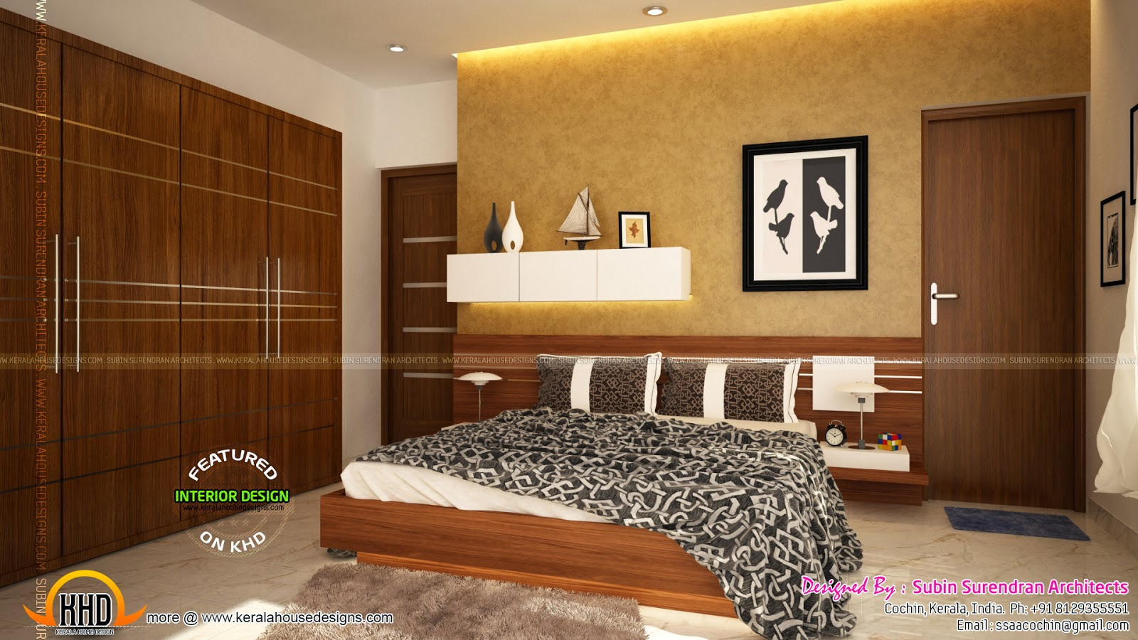Kerala style low cost double storied home keralahousedesigns for Bedroom interior design photos
