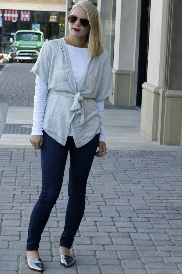 Shae Roderick, outfit, grey cardigan, fall, look, OC fashion blog, denim
