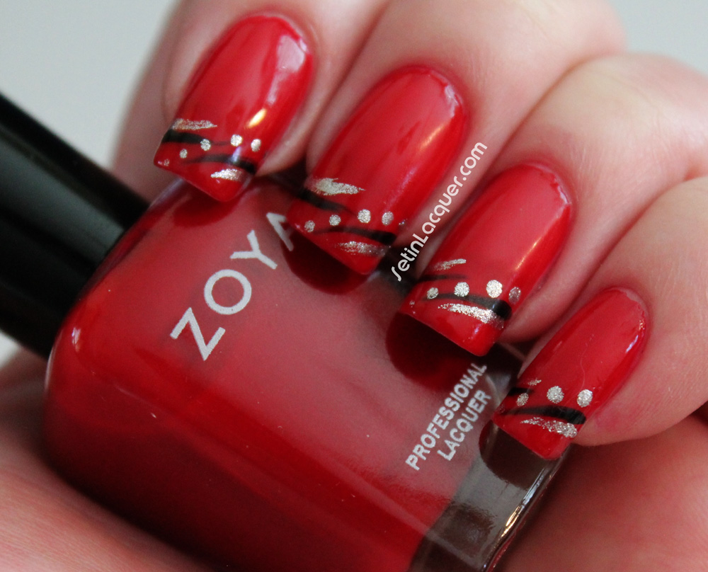 Nail Art With Dots And Lines Using Zoya Set In Lacquer