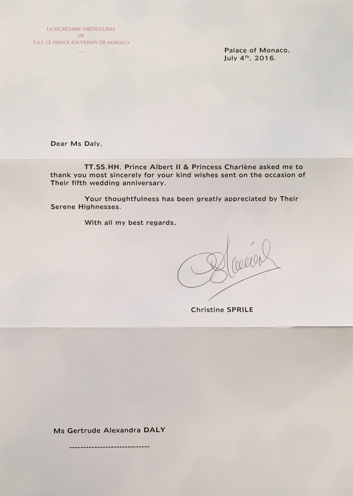 gert s royals prince albert princess charlene of th the letter was written by christine sprile prince albert s private secretary and is fairly short printed on nice paper you will notice they took care to