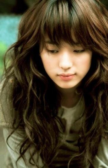 Korean Long Curly Hair with Bangs