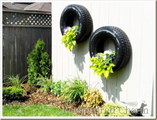 decoracao muros jardim:Dicas do Mundo da Criatividade: * PNEUS NA DECORAÇÃO