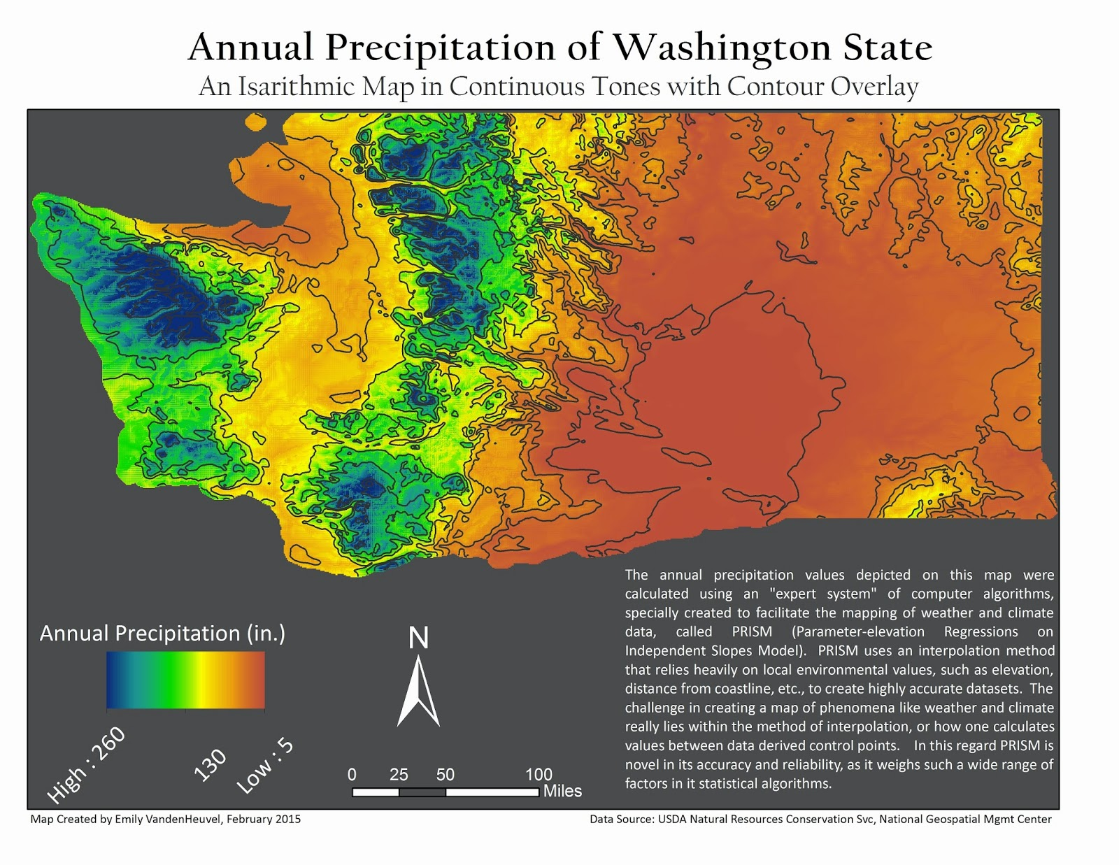 the 2 maps here use the same data annual precipitation of washington state but employ different methods of classification and display