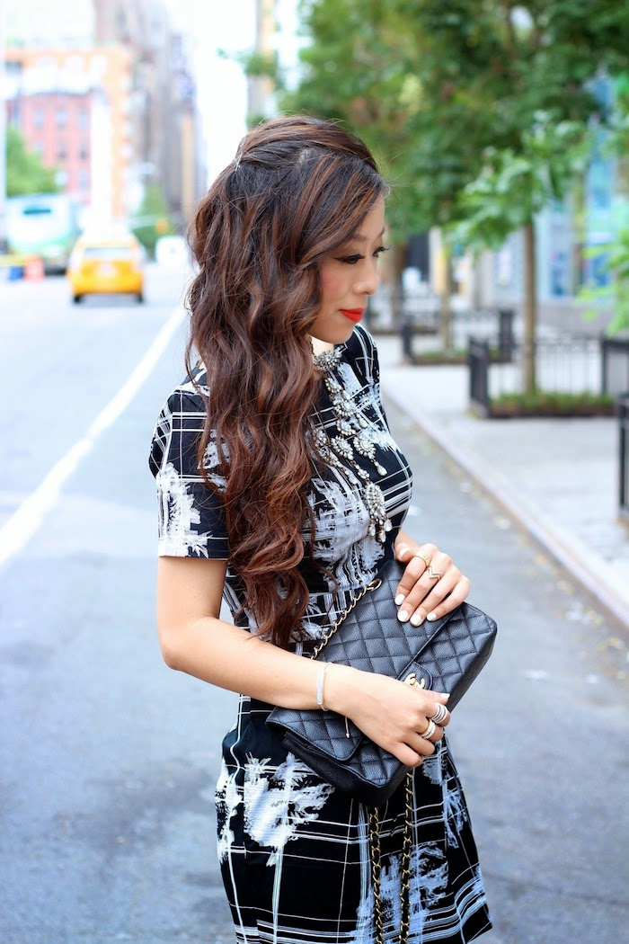 French Connection, dress, checker, necklace, ILY Couture, Chanel, SophiaWebster, wedding guest, what to wear for weddings, ootd, oottn, wiw,outfit,streetstyle