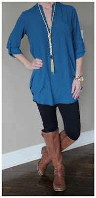 Top: Lush Perfect Roll-Tab Sleeve Tunic - only $25, regular $42! (I think I need to order this in another color too - there are tons of options!) Leggings: Zella Live-In Slim Fit Leggings Boots: Jessica Simpson Elmont Necklace: Purple Peridot Gold Tassel Lariat - only $13, regular $30! Watch: Michael Kors Runway - $50 off! (similar under $40)