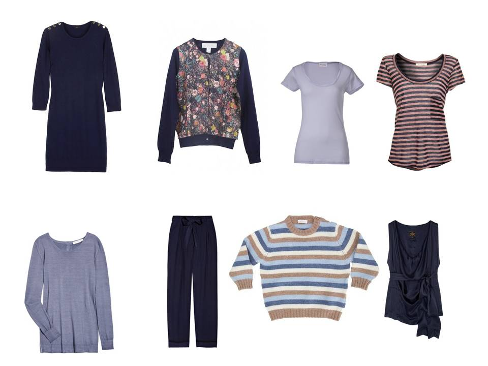 capsule wardrobe in navy  u0026 brown  with lavender accents