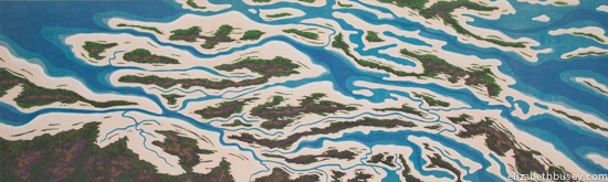 Aqua waters flow through pink sandy islands, in danger because of sea level rise & global warming.