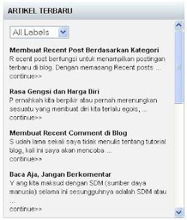 Membuat Recent Post Berdasarkan Label / Kategori