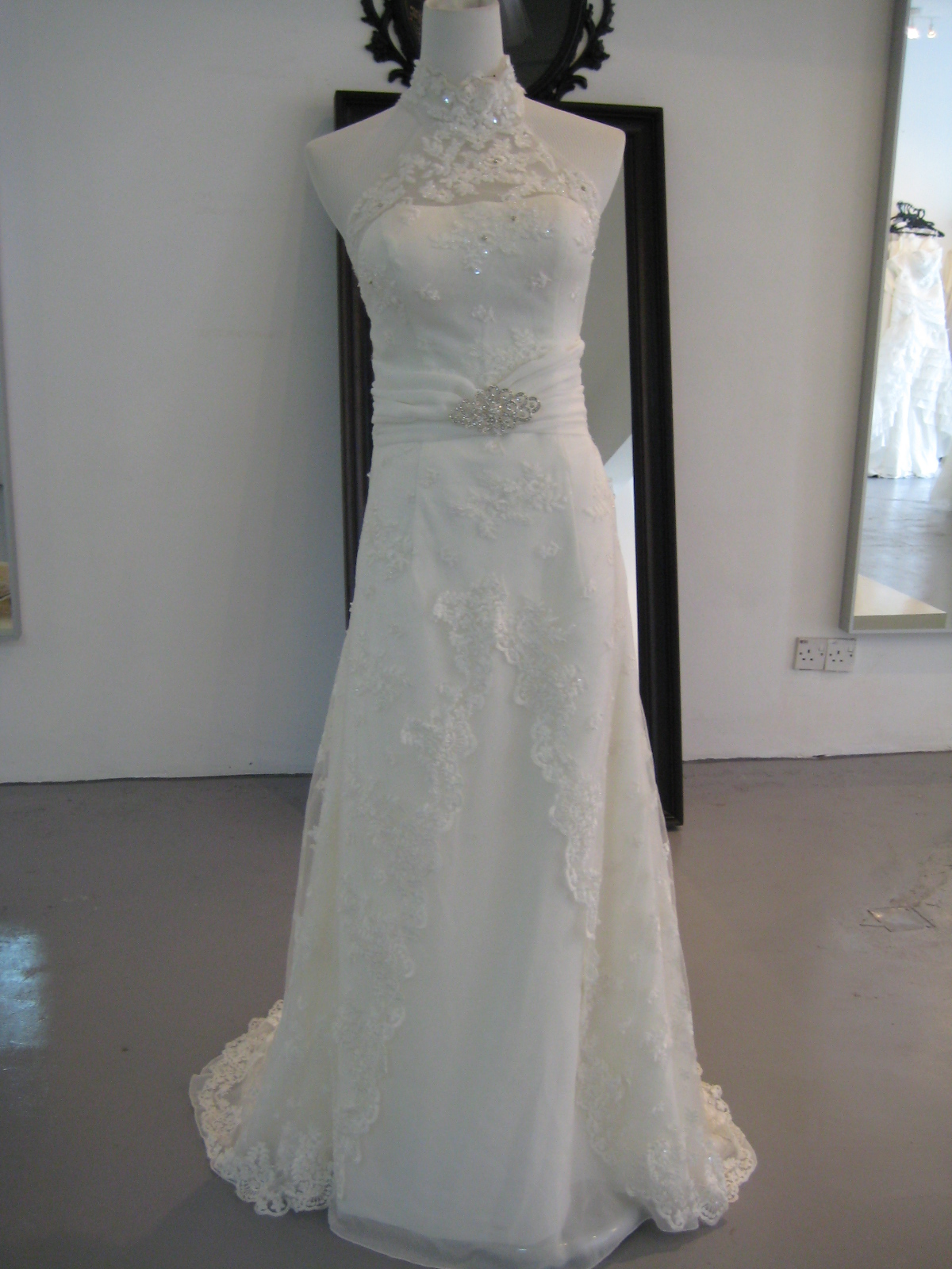 My bridal gown ivoire range mandarin collar lace gown for Wedding dress with collar