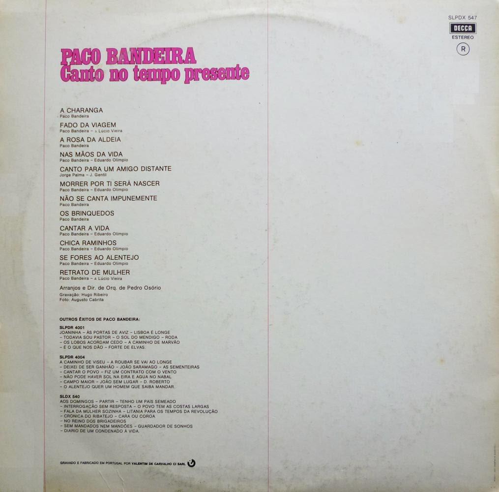 Paco Bandeira - Canto No Tempo Presente (LP 1977)  Back