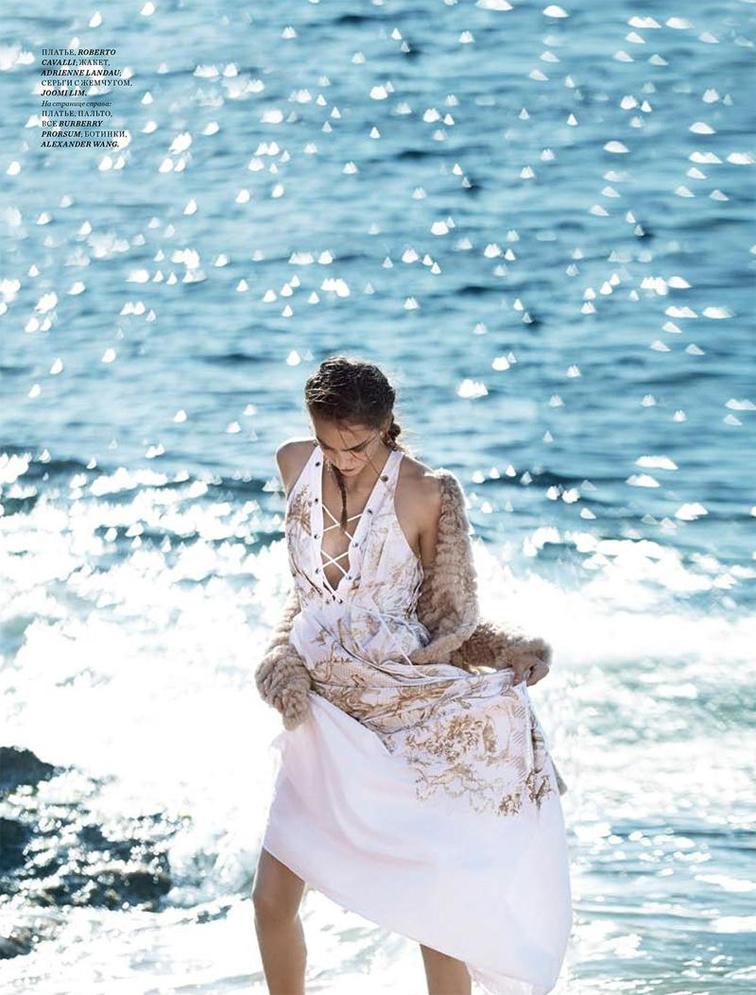Zuzanna Bijoch for Harper's Bazaar  Kazakhstan January 2015 white dress