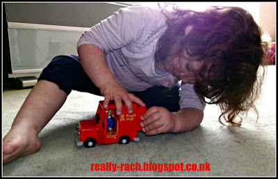 My 3yr old playing with Pat and his van