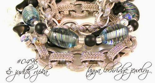 Blue-Black Swirl Lampwork Bracelet