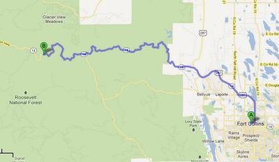 Map from Fort Collins to Mountain Park Campground www.thebrighterwriter.blogspot.com