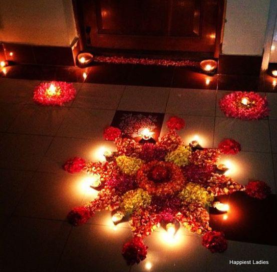 floral rangoli for deepawali