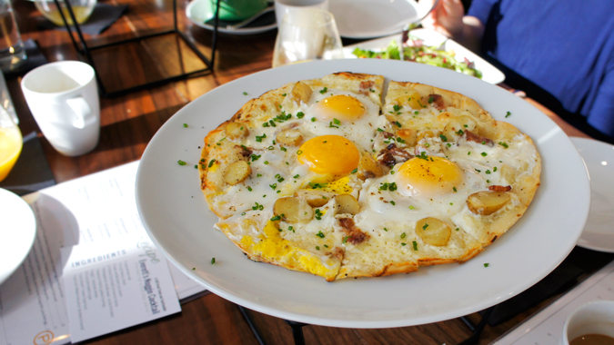 Breakfast pizza at The Poynt