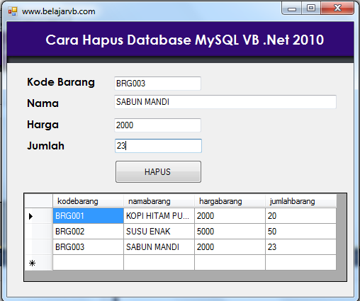 Tutorial Lengkap VB 2010 | Cara Hapus Database MySQL VB 2010 | Belajar VB 2010