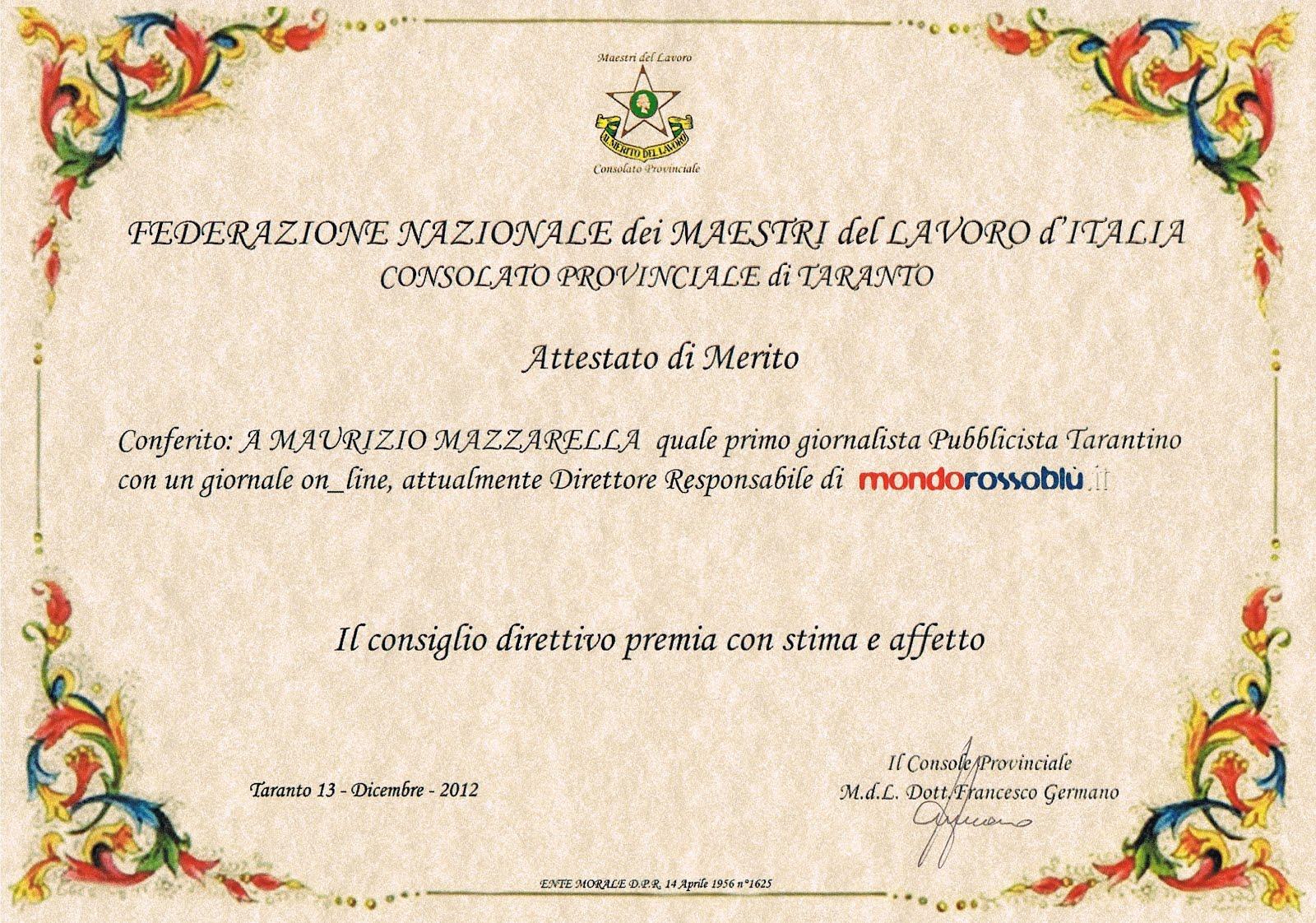"""Premio """"Maestri del Lavoro"""" 2012"""