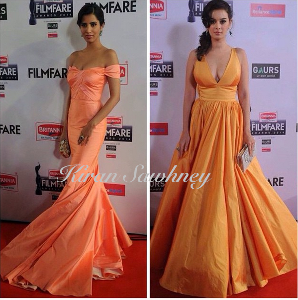 Manasvi Mamgai and Evelyn Sharma at Britannia Filmfare awards 2015