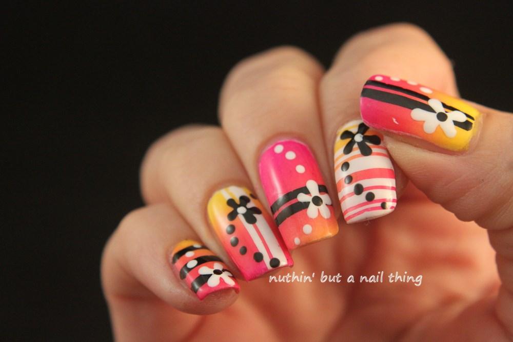 gradient bright nail art design ideas