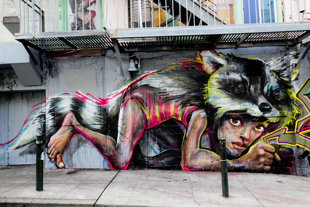 Herakut street art, San Francisco Bay area, skunk