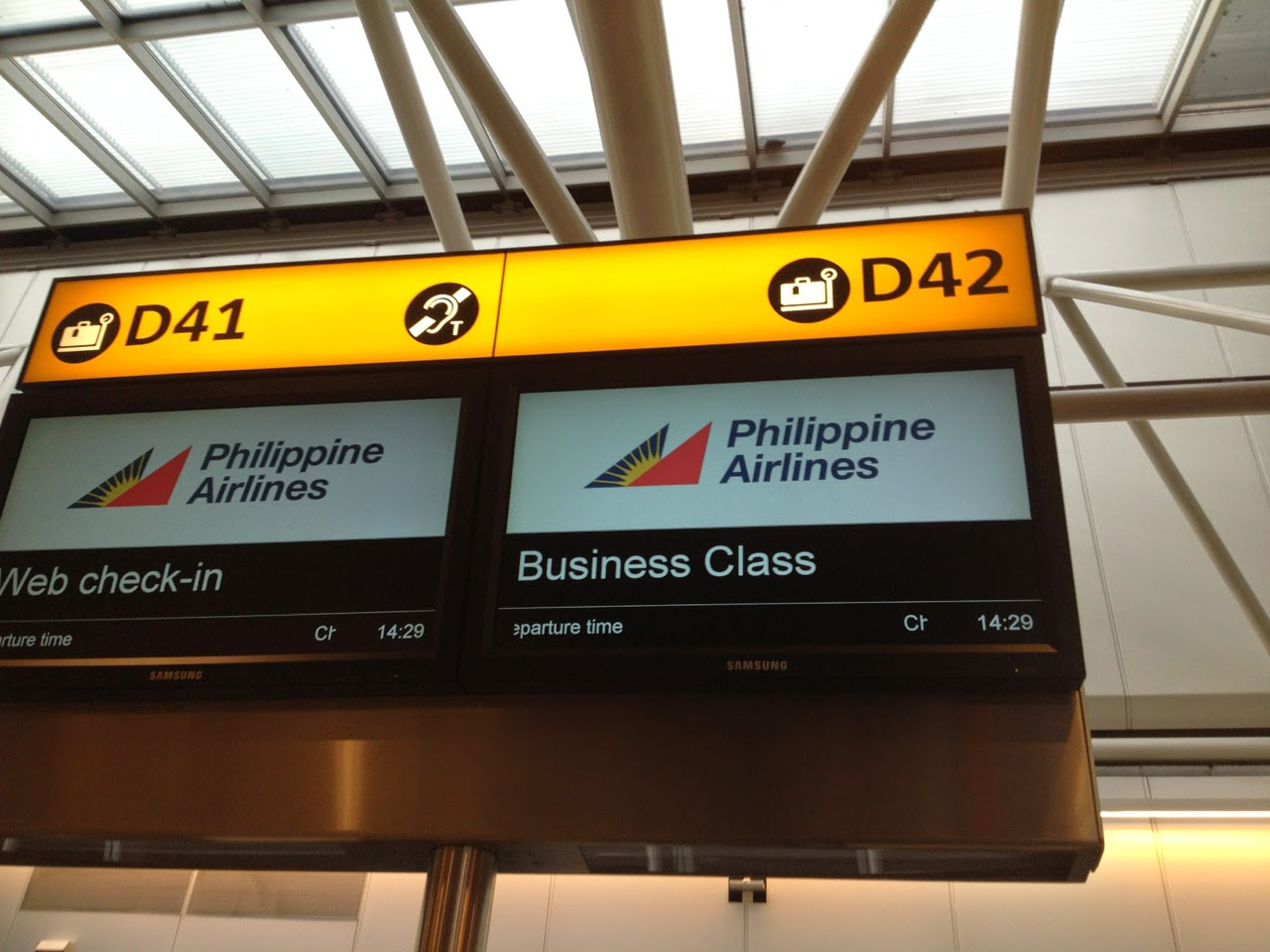 PAL check-in desk at Heathrow