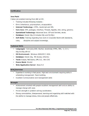 Resume For Java Fresher CV for Java Developers Page No.01