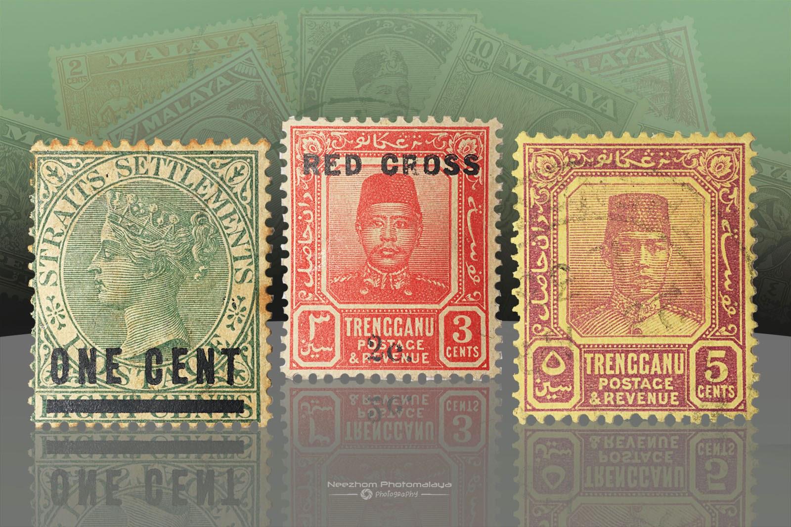 Setem Malaya 1 Cent Straits Settlements 1892, 3 Cents Trengganu 1917, 5 Cents Trengganu 1924