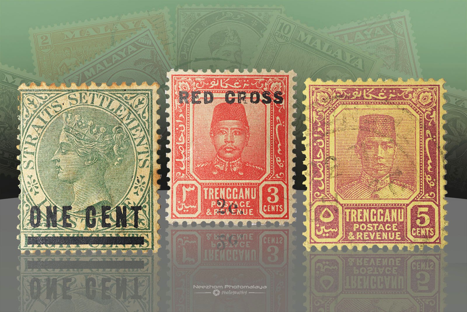 Malaya stamps - 1 Cent Straits Settlements 1892, 3 Cents Trengganu 1917, 5 Cents Trengganu 1924