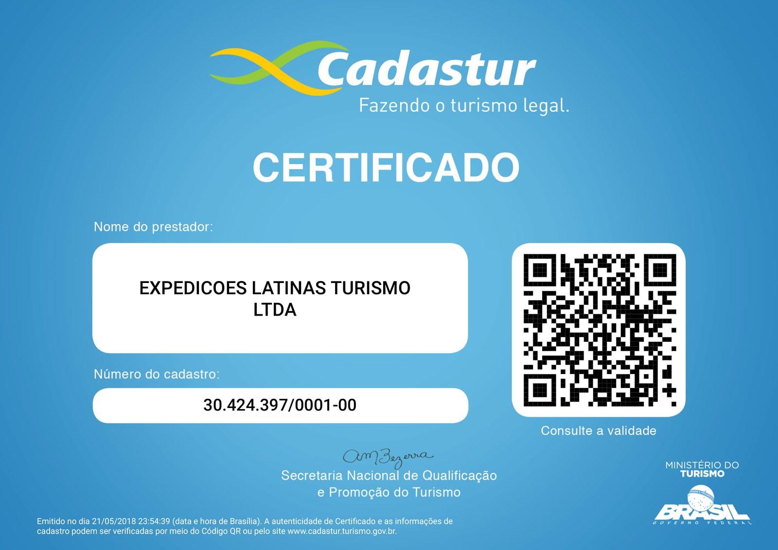 Certificado Embratur