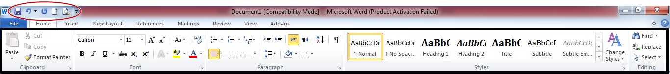 menu ms word