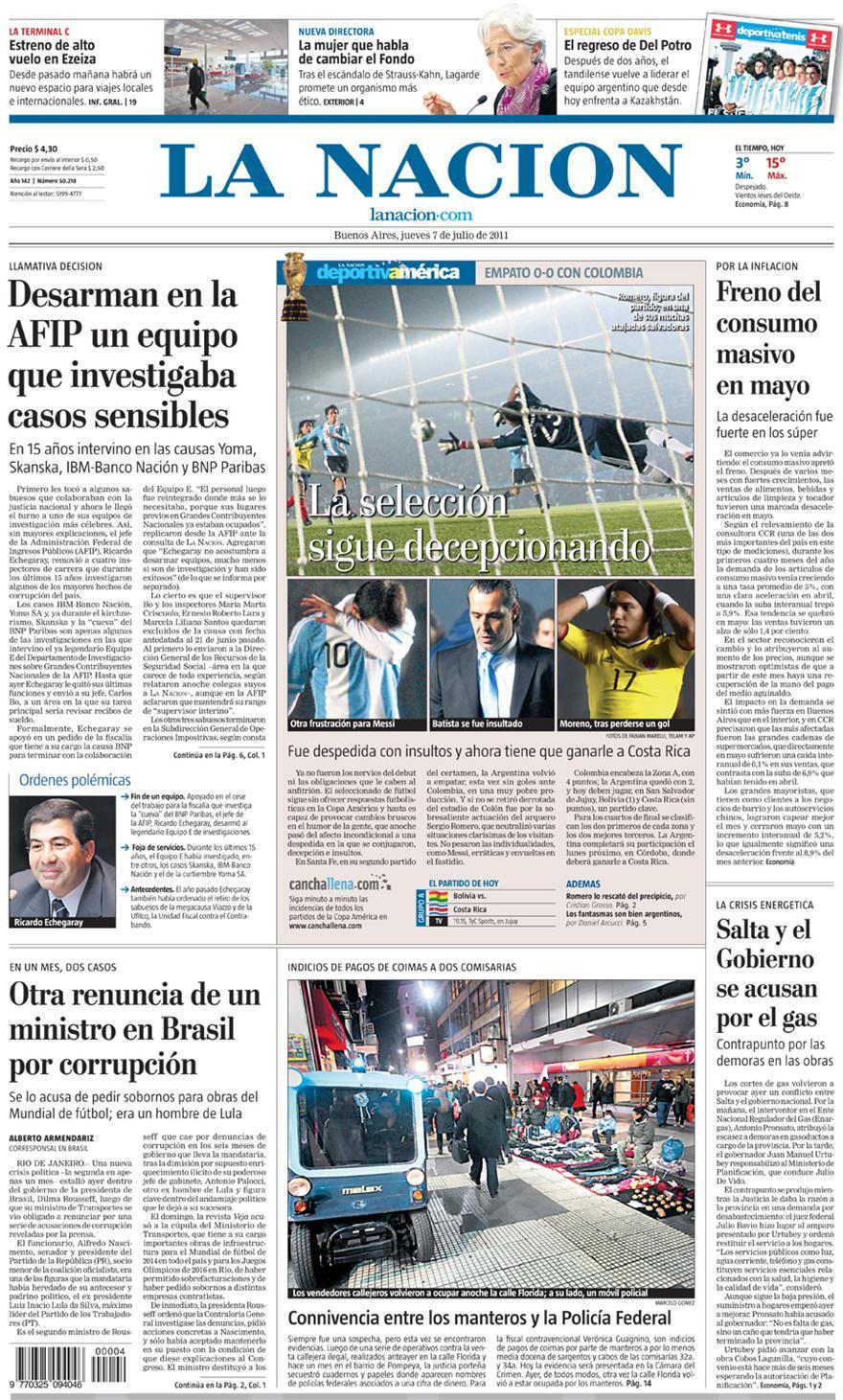 Tapa diarios la nacion clarin 07 07 11 report show for Diarios del espectaculo